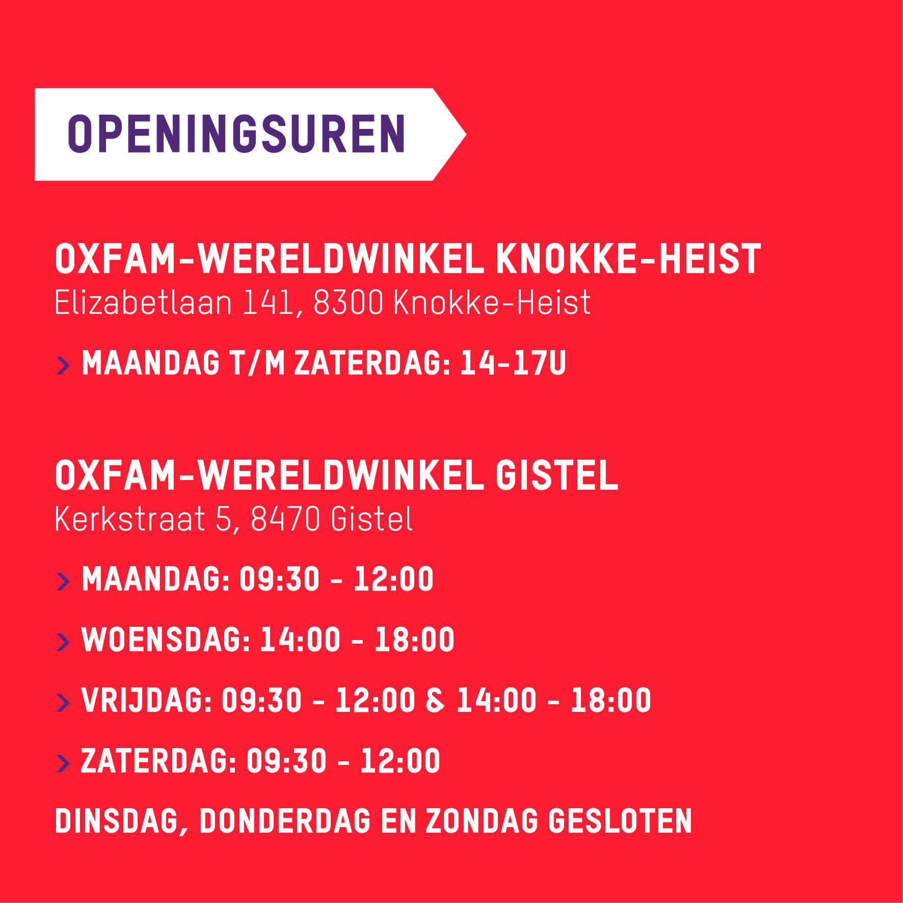 Openingsuren Knokke en Gistel