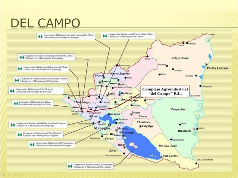 Situering van de 11 coöperaties van Del Campo in Nicaragua
